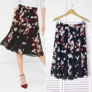 WHMB floral pleated skirt with contrast panels